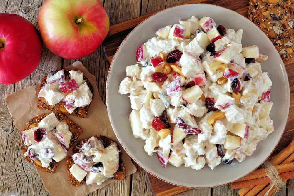 chicken, apples, nuts and cranberries, on crackers
