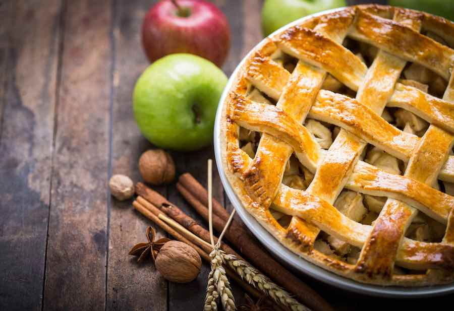 Apple Pie on Wooden Table