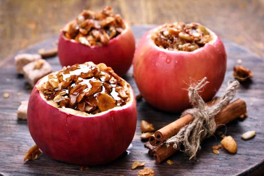 Baked Red Apples Stuffeed With Granola