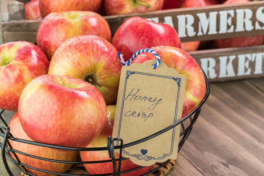 Basket of Honeycrisp apples.