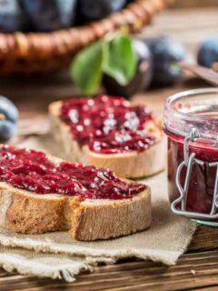 Bread with plum jam