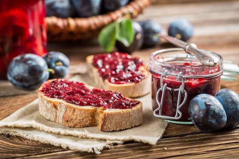 Bread with plum jam.