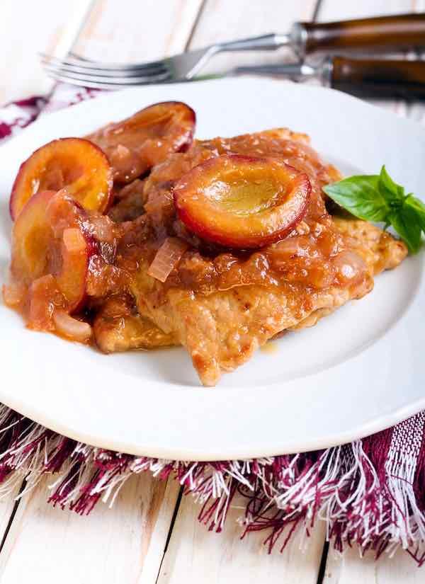 Pork chops with plum sauce.