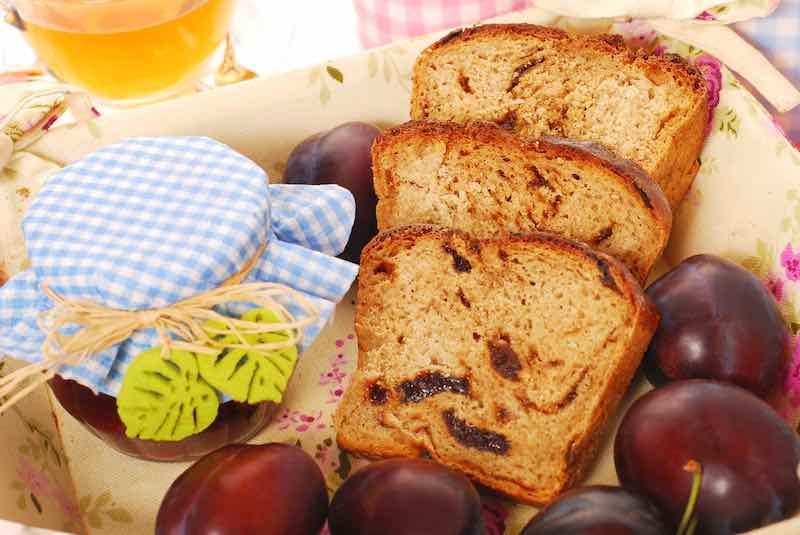 homemade plum and honey bread