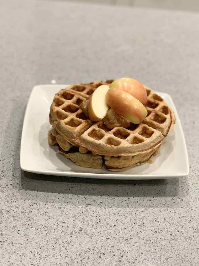 Apple Waffles with Apples on Top