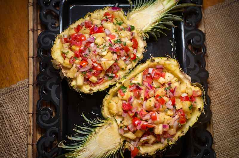 whole pineapple half salsa South American appetizer