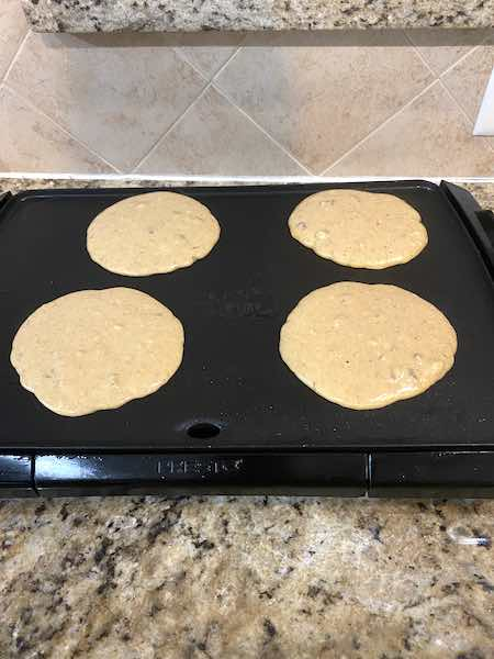 Pumpkin Pecan Pancakes on the Griddle.