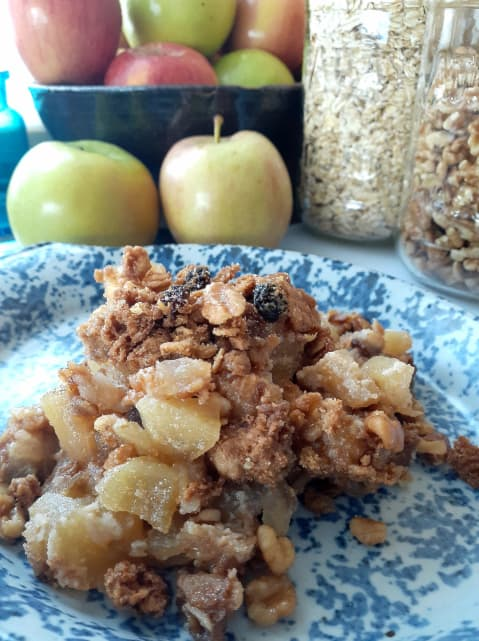 Plated Apple Crumble