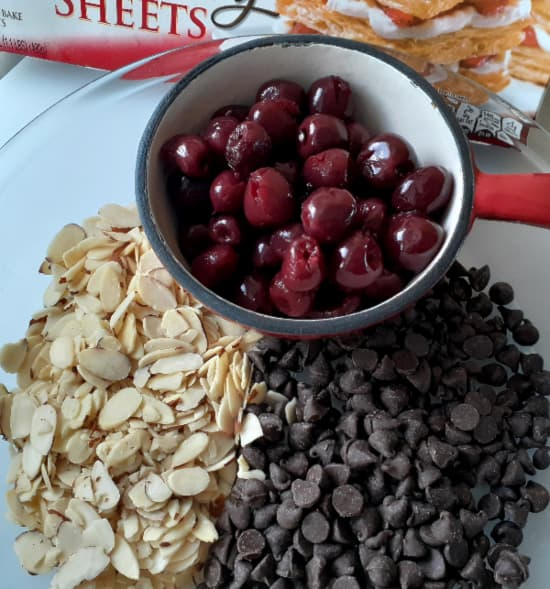 Basic ingredients for Cherry Turnovers.