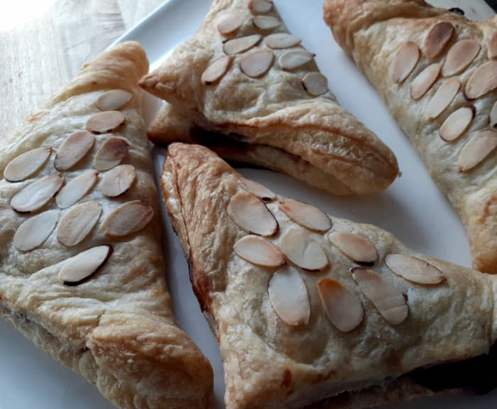 Plain turnovers with almonds.