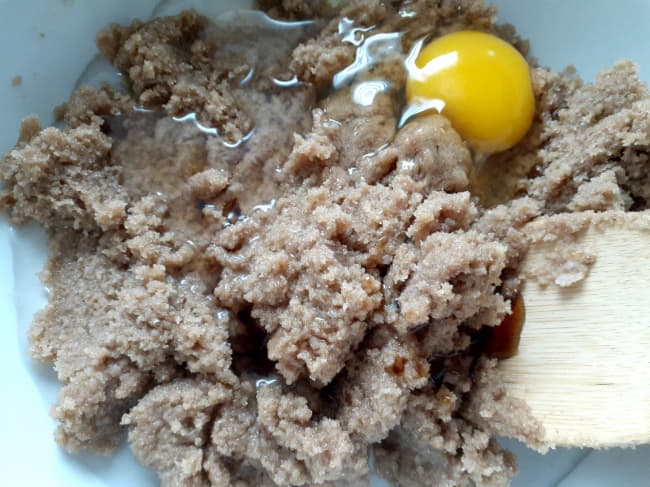 Add egg and vanilla.