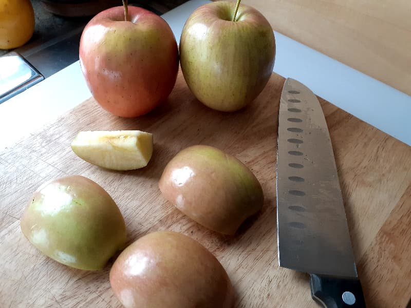 Cored apple.
