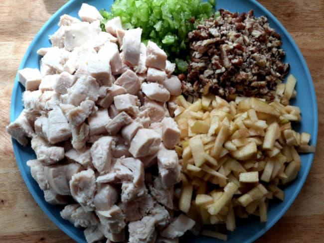Apple chicken salad ingredients.