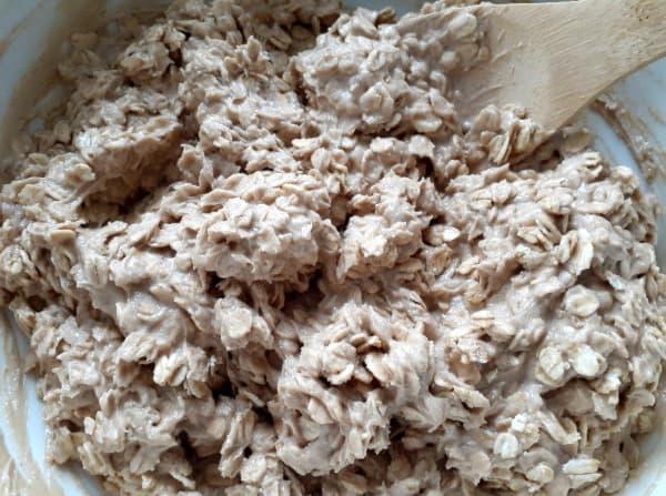Oats mixed into dough.