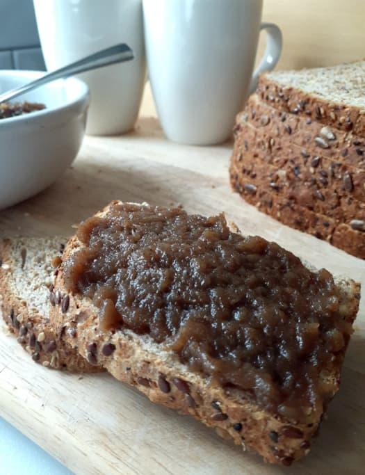 Apple butter on bread.
