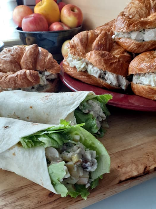 Apple chicken salad wraps and croissants.
