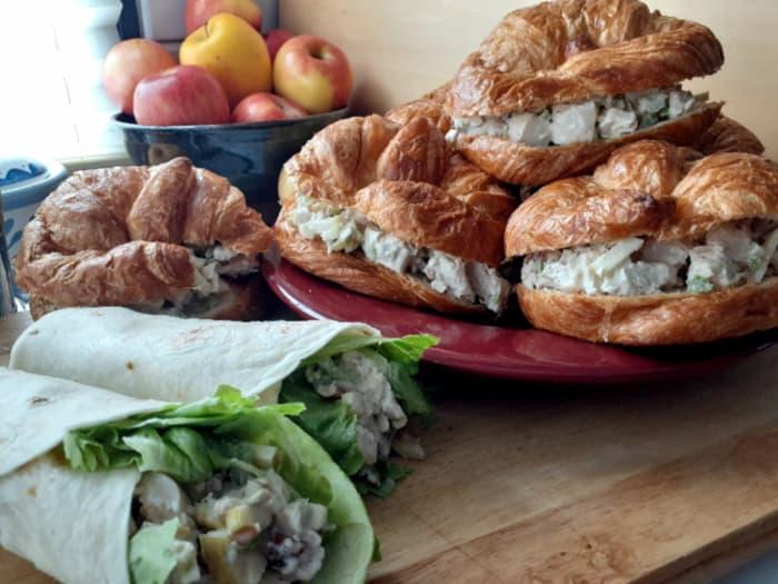 More apple chicken salad croissants and wraps.