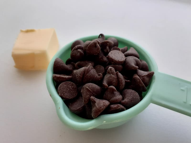 Semisweet chocolate chips and butter.