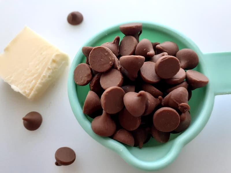 Milk chocolate chips and butter.