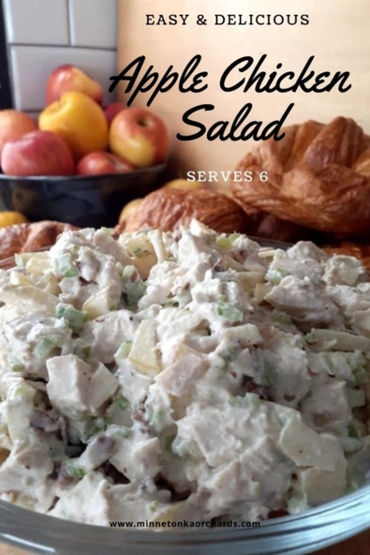 Apple chicken salad Pinterest image.