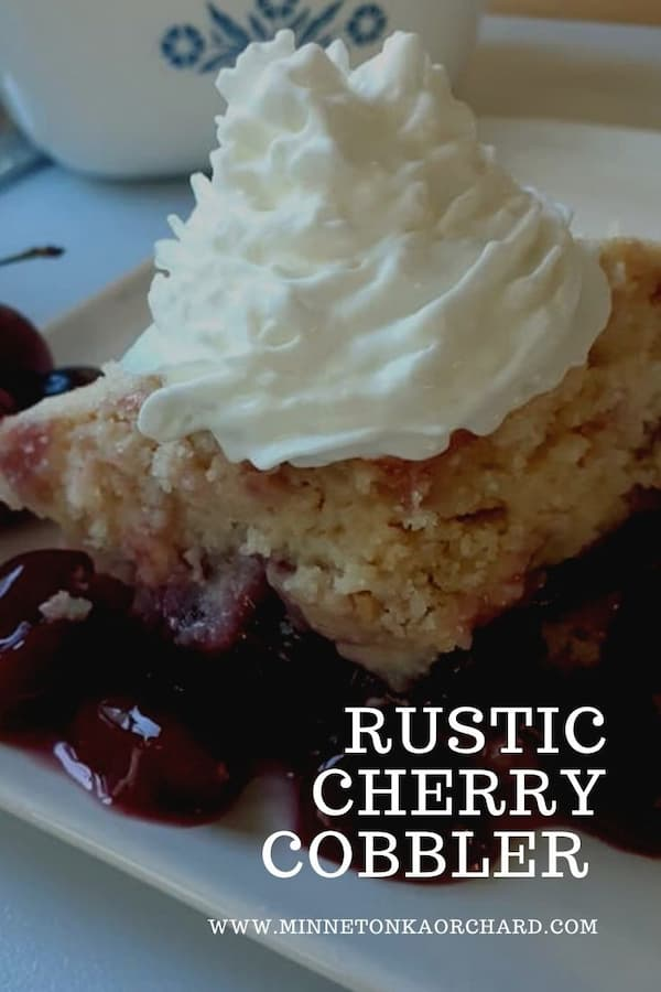cherry cobbler with whipped cream pinterest image.
