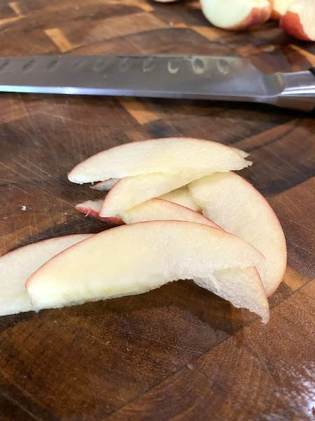 Finished prepped apple slices for the coleslaw.