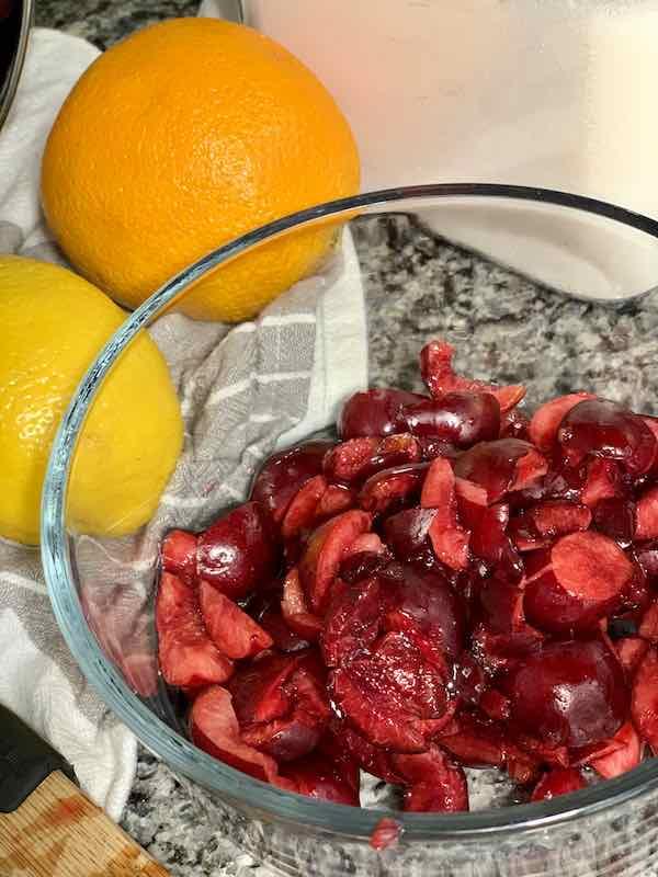 chopped cherries in a bowl.
