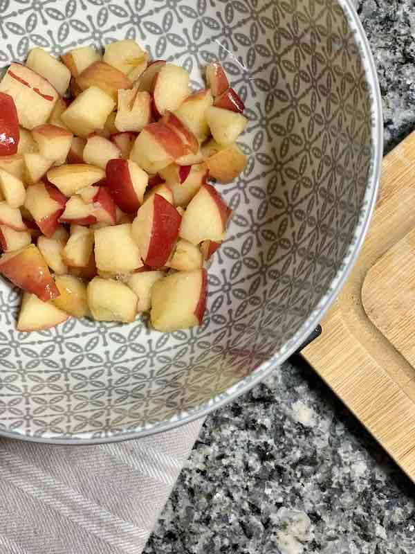 Defrosted Frozen Apples In A Bowl