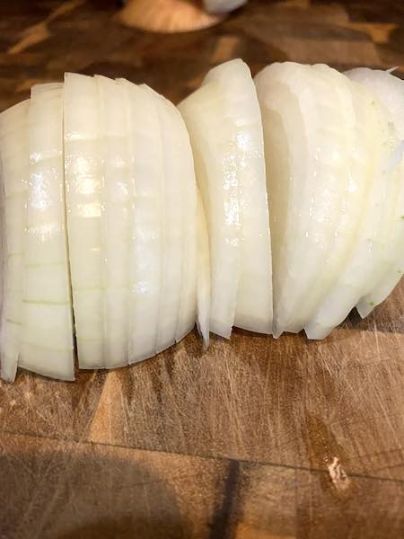 Thinly sliced onion.