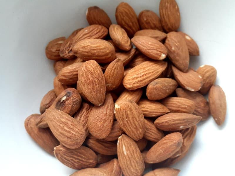 Whole almonds.
