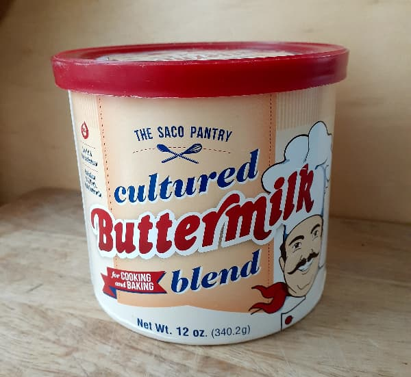 Canister of powdered buttermilk.