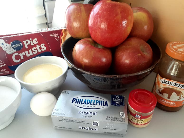 Ingredients for Apple Cheesecake Galettes.