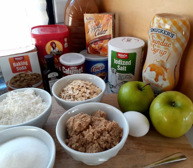 All the ingredients for Apple Cider Cookies.