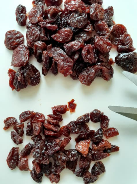 Comparison of whole and cut up dried cherries.