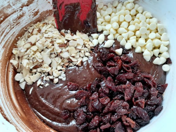 Dried cherries, almonds, and white chocolate chips added to batter.