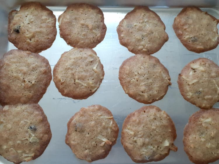 First batch of baked apple cider cookies -- two of them ran together.