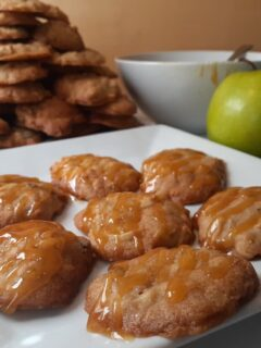 Apple Cider Cookies with butterscotch sauce drizzle.