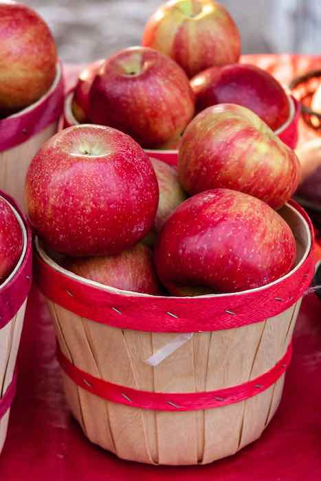 Fresh apples for sale at farm store.