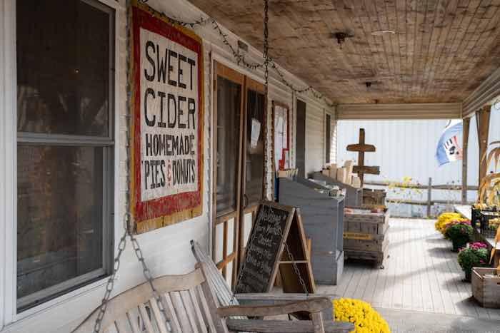 The rustic storefront of Champlain Orchards in Shoreham, VT.