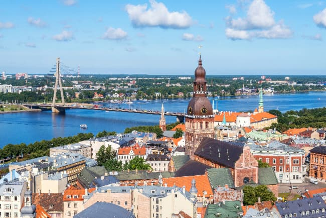 Aerial view of the city of Riga, Latvia -- the home of the European White Transparent Apple tree.