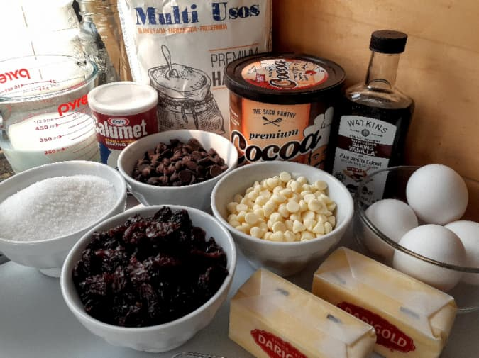The ingredients for cherry chip cake.