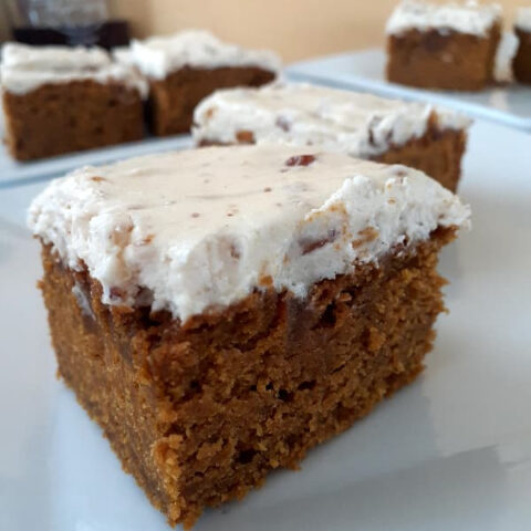 Closeup of Pumpkin Bars With Maple Frosting