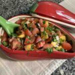 Fresh sweet and spicy peach salsa