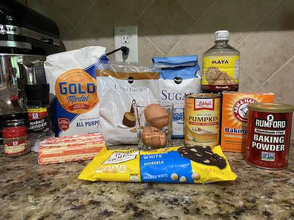 Ingredients for the white chocolate chip pumpkin cookies.