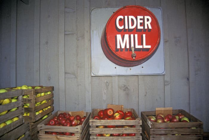 An Ohio cider mill sign hung on a plank wall above crates of yellow and red apples. Cider mills can be found at some of the best apple orchards in Ohio.