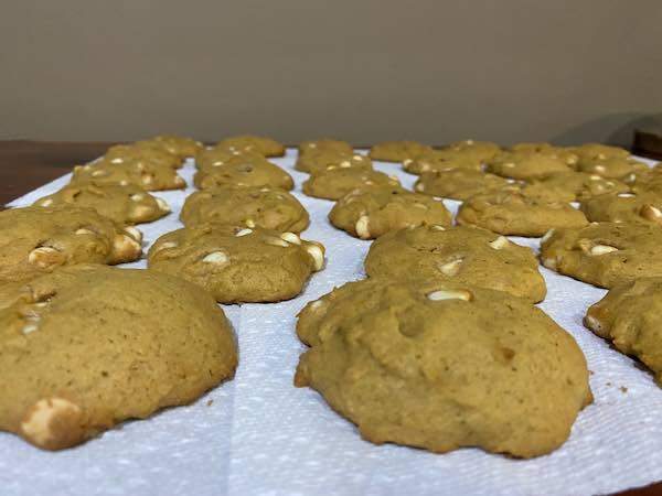 The white chocolate chip pumpkin cookies cooling!