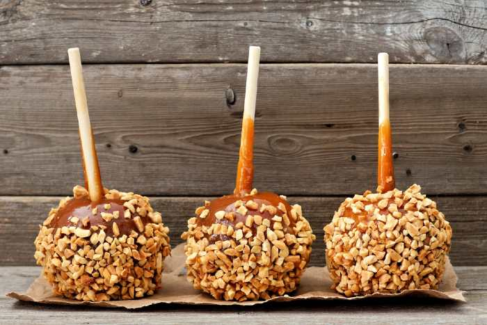Nut and  caramel covered apples