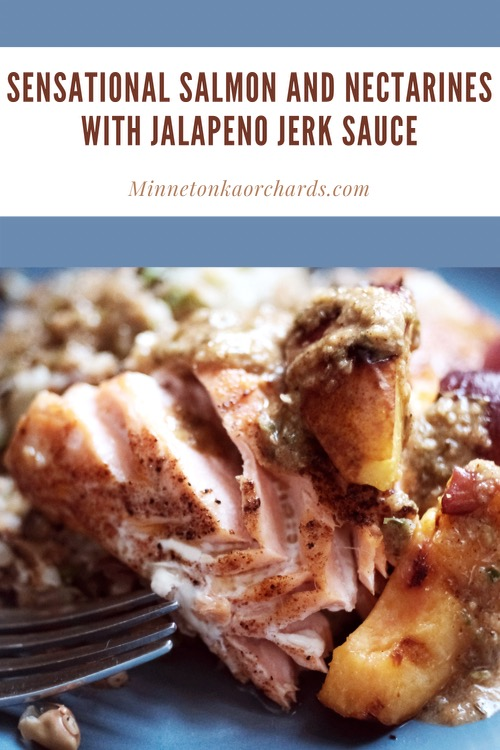 Pinterest image of salmon and nectarines with jerk sauce.
