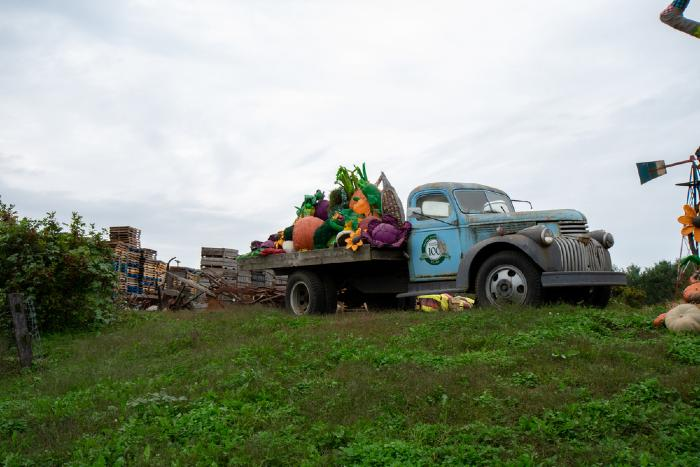 The Linvilla Orchards Truck Sits on Top of a Hill