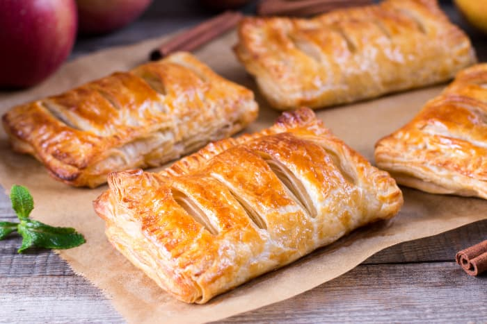 Golden brown apple turnovers.
